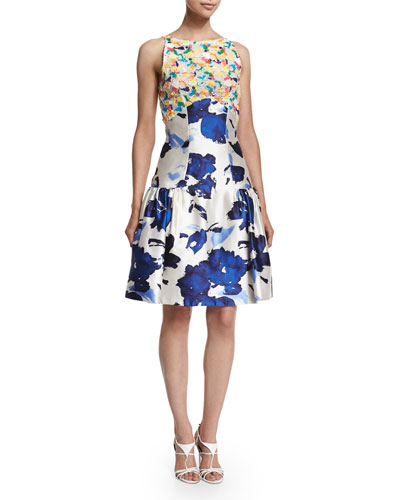 Floral-Motif Mixed-Media Dress, Marine Blue