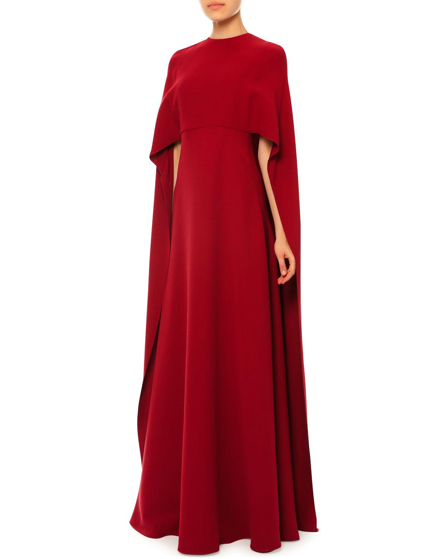 Jewel-Neck Half-Sleeve Capelet Gown
