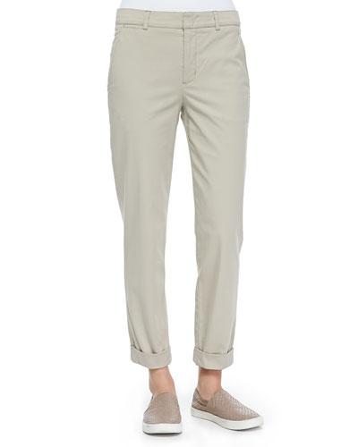 Rolled-Cuff Boyfriend Trousers, Light Khaki