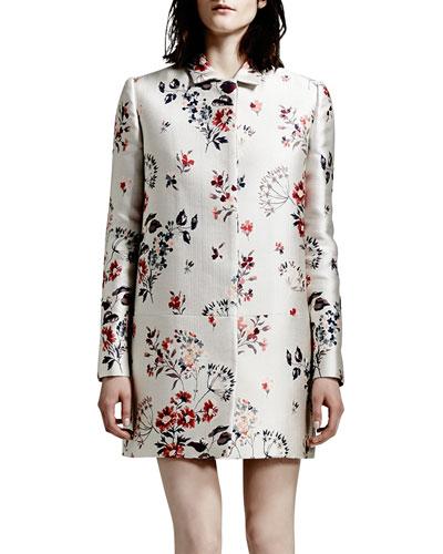 Hidden-Placket Wildflower Jacquard Coat, White/Multi