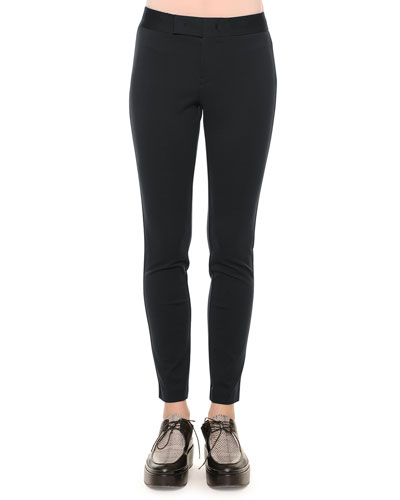 Zip-Front Skinny Leggings, Navy