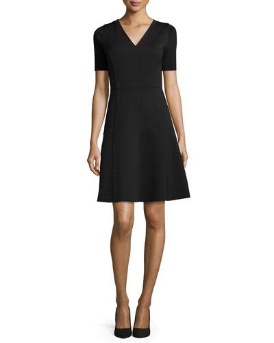 Maria Short-Sleeve Fit & Flare Dress
