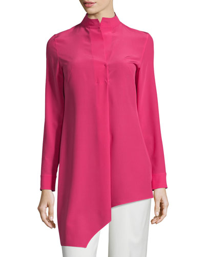 Long-Sleeve Asymmetric Tunic, Anemone