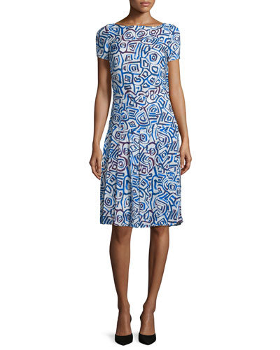 Abstract Watercolor-Shaped Print Dress, Marine Blue