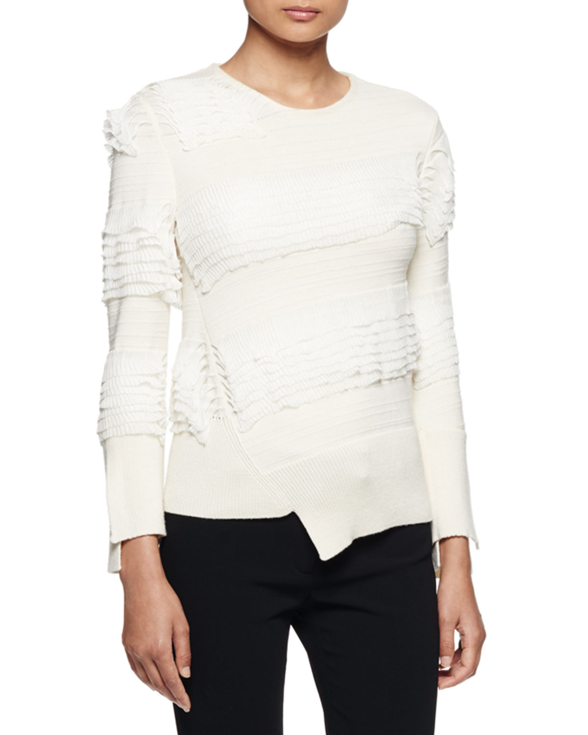 Asymmetric Ruffle-Knit Sweater