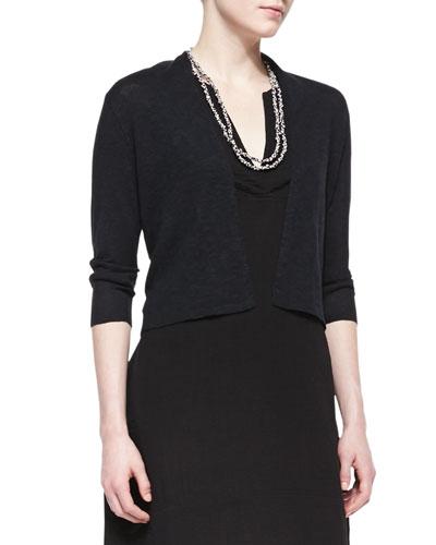 3/4-Sleeve Slub Cropped Cardigan, Black, Plus Size