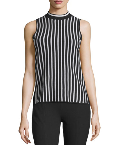 Livvy Striped Silk-Blend Tank, Black/White