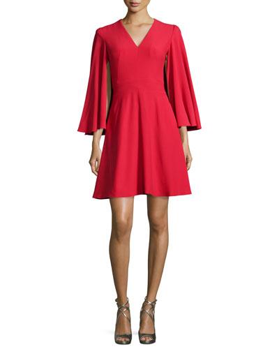 Cape-Sleeve V-Neck Mini Dress, Blazer Red
