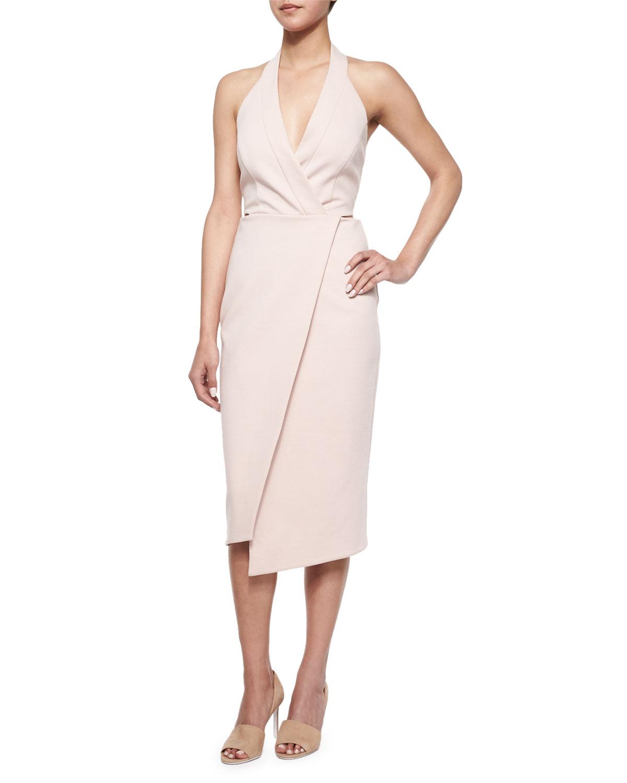 Sleeveless Faux-Wrap Dress