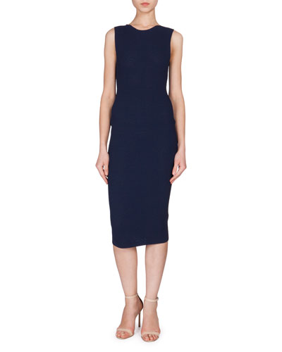 Sleeveless Round-Neck Textured Dress, Dark Navy