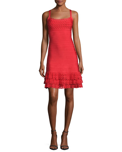 Sleeveless Ruffled-Hem Bandage Dress, Bright Poppy