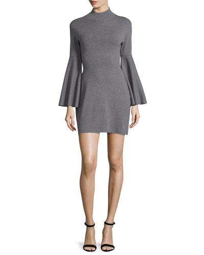 Swing-Sleeve Mock-Neck Sheath Dress, Gray