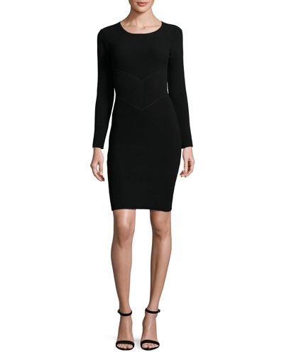 Ottoman Long-Sleeve Angled Sheath Dress, Black