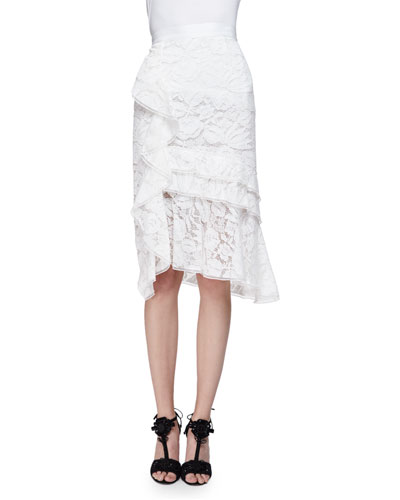 Tiered-Lace Pencil Skirt W/Ruffle, Ivory/Multi