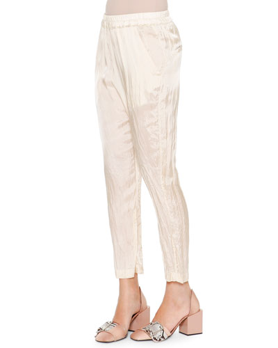 Anniball Slim-Leg Crushed Ankle Pants