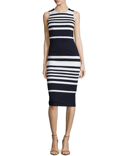 Positano Stripe Cross-Back Sheath Dress