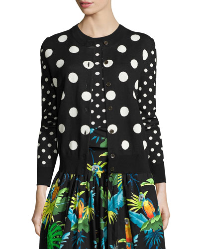 Polka-Dot Crewneck Sweater, Black/Multi