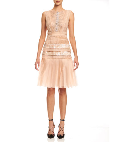 Sleeveless Bateau-Neck Embroidered Dress, Powder Pink