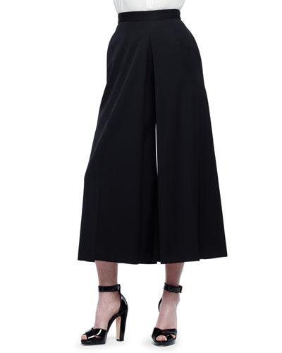 High-Waist Wool Culotte Pants