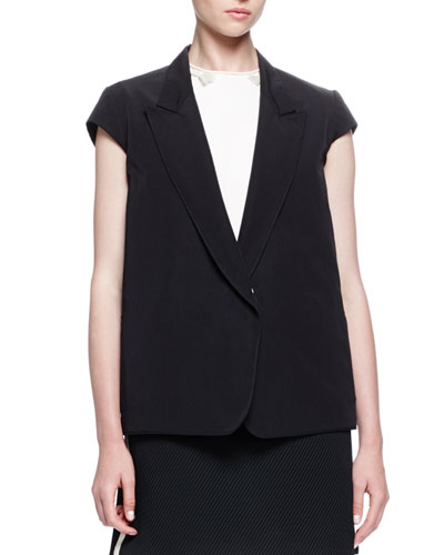 Cap-Sleeve Button-Front Jacket, Black