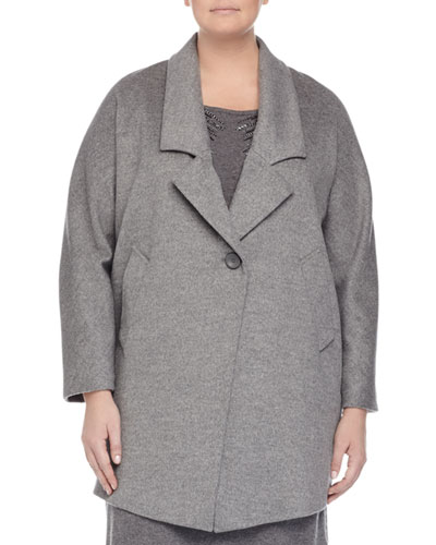 Nobile Wool One-Button Jacket, Gray, Plus Size