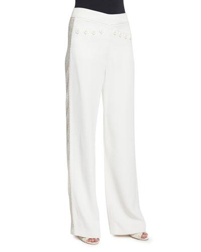 Wide-Leg Flat-Front Tuxedo Pants
