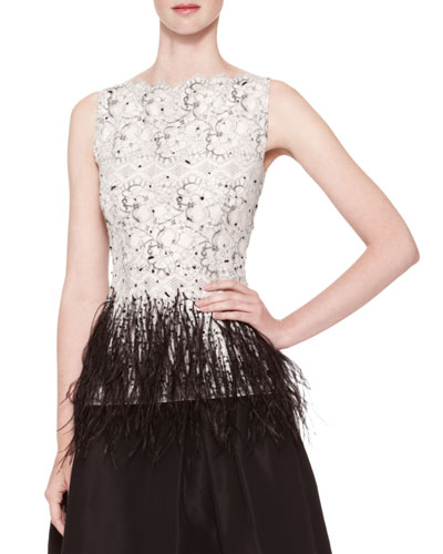 Sleeveless Lace Blouse with Feather Trim