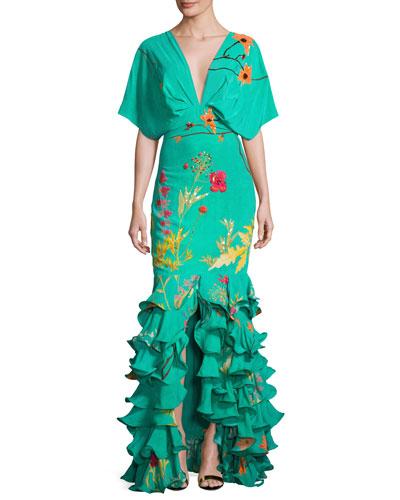 Caribe Floral Ruffled-Hem Dress, Green/Orange