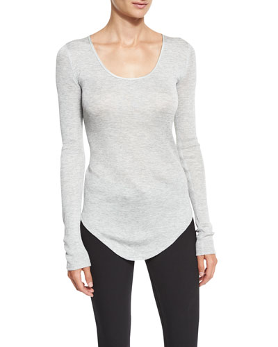 Francois Long-Sleeve Knit Top, Heather Gray