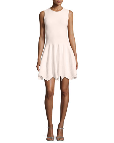 Sleeveless Floral-Embossed Dress