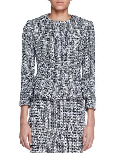 Lightweight Tweed Peplum Jacket, Black/White