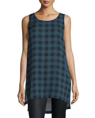 Sleeveless Buffalo Check Silk Tunic