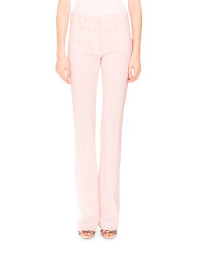 Serge Zip-Front Flare-Leg Pants, Shell Pink