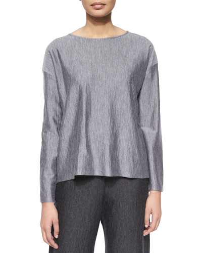 Long-Sleeve Bateau-Neck Top