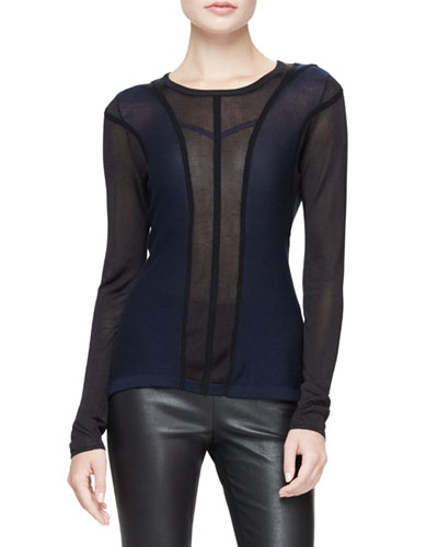 Eunice Paneled Mesh Sweater, Navy
