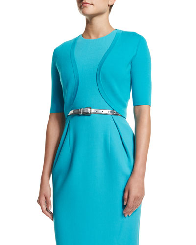 Half-Sleeve Open-Front Shrug, Aqua