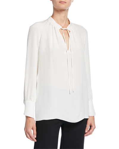 Sonia Tie-Neck Long-Sleeve Blouse