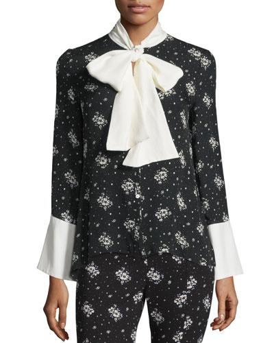 Stardust Rowan Floral-Print Tie-Neck Blouse