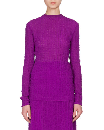 Textured Bubble Seersucker Long-Sleeve Top, Plum