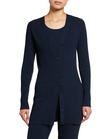 Akris punto Fitted Wool Cardigan Sweater