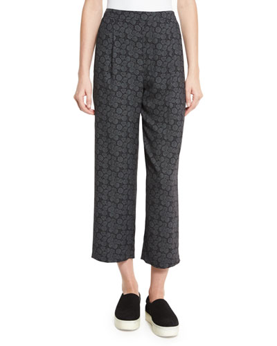 Tie-Print Pull-On Pants, Black/Shark
