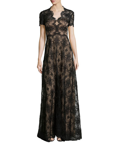 Short-Sleeve Lace Gown, Port Red/Black