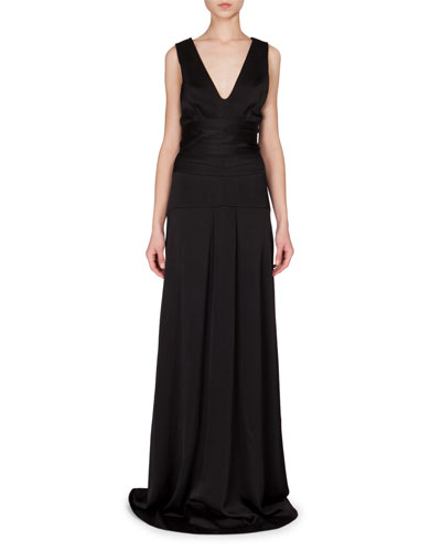 Sleeveless Seamed-Waist A-Line Gown, Black
