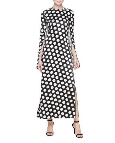 Polka Dot Cape-Sleeve Gown, Black