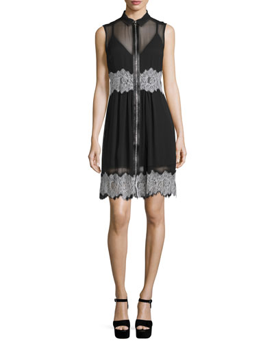 Sleeveless Collared Silk Dress, Black