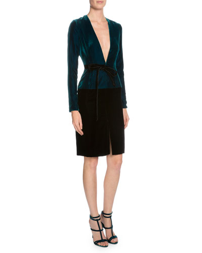 Long-Sleeve V-Neck Combo Dress, Peacock Blue