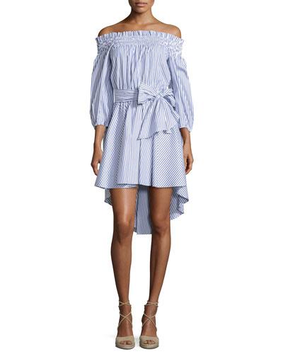 Lou Off-The-Shoulder Striped Dress