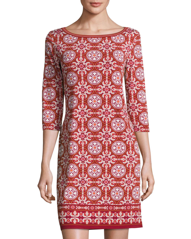 Geometric-Print Jersey Shift Dress