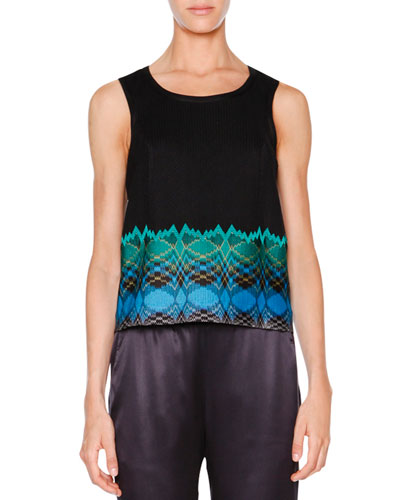 Sleeveless Stereo-Hem Crop Top, Black/Turquoise/Green