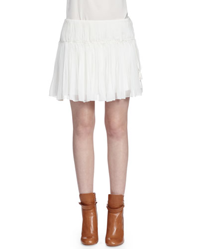 Tassel-Detailed Gathered Mini Skirt, White